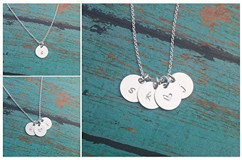 - Sterling Silver Initial Necklace // Dainty Initial Discs // Personalized Necklace // Hand Stamped Jewelry // Initial Jewelry By GMJ