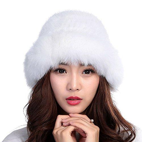 Valpeak Womens Winter Hat Knitted Mink Real Fur Hats With Fox Brim (White) (Fur Hat White)
