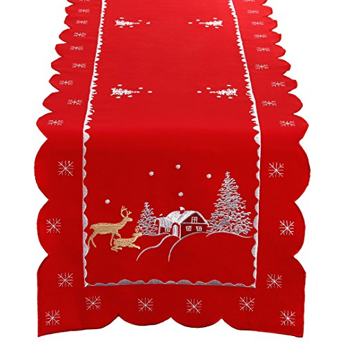 Simhomsen Christmas Holiday Table Runner Embroidered redeer Rectangular (14 × 70 Inch)