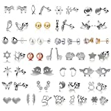 30 Pairs Multiple Minimalism Dainty Silver Earrings