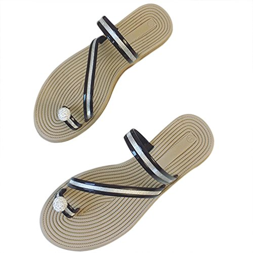 Transer® Damen Peep-Toe Flach Slipper mit Perle Gurt Schwarz Silber Outdoor Mode Leder+Gummi Hausschuhe Schwarz