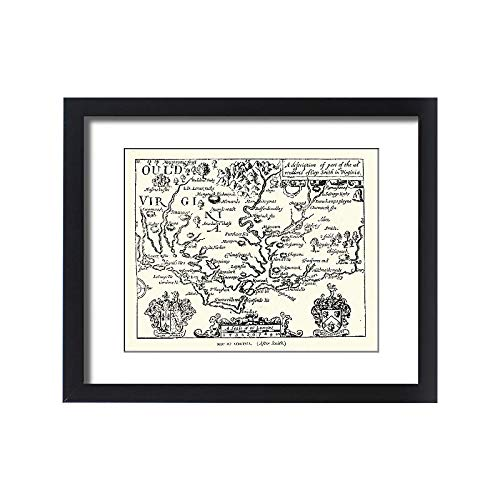 Media Storehouse Framed 20x16 Print of Map of Virginia, 17th Century After Captain John Smith (18106645)