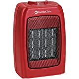 Comfort Zone Red Ceramic Adjustable Thermostat Electric Heater