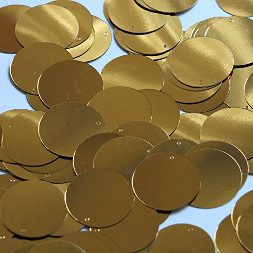- Round Sequin 24mm Dark Yellow Gold Metallic Loose Couture Paillettes