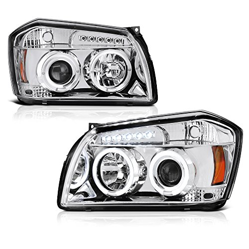 [For 2005-2007 Dodge Magnum] LED Halo Ring Chrome Projector Headlight Headlamp Assembly, Driver & Passenger Side