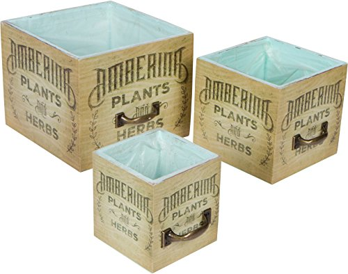 Vintage Style Cedar Wood Succulent Planter Boxes - Set of 3 Trademark Innovations