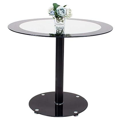 Tavolino Alto Salotto.Euco Rotondo Nero In Vetro Temperato Vetro Tavolo Alto