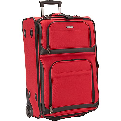 Traveler's Choice Conventional II Lightweight Expandable Rugged Rollaboard Rolling Luggage - Red (26-Inch)