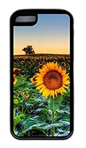 iPhone 5c case, Cute Sunflower Field Sunset iPhone 5c Cover, iPhone 5c Cases, Soft Black iPhone 5c Covers by mcsharks