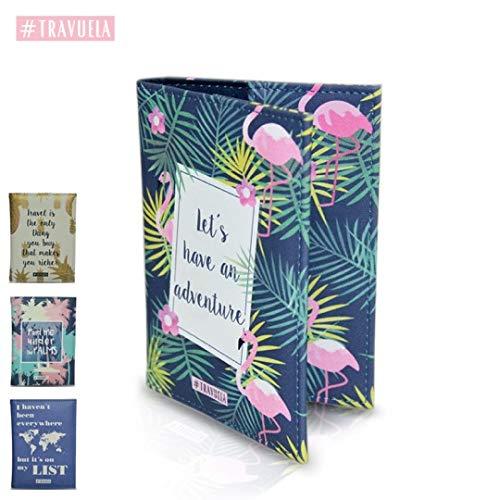 travuela Premium Reisepasshülle Palmen – schützende Reisedokumententasche/Ausweishülle für den Reisepass aus Kunst Leder - Pa