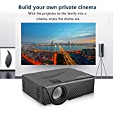 Video Projector, RockBirds GP10 Portable Projector Support SD Card 1080P HD PC USB HDMI AV VGA for Home Cinema Theater ( Black )