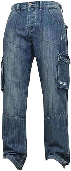 maweisong メンズ ウォッシュ ヒップホップ デニム ワーク パンツ ジーンズ カーゴ ポケット付き