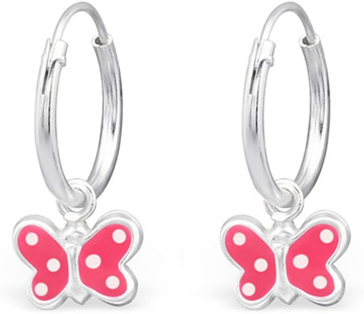 Small Pink White Dots Butterfly Hoop Earrings Colorful Girls Stering Silver 925 Nickle Free E28634