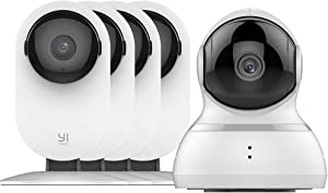 YI AI-Powered Indoor Security Camera Bundle Set, 1080p Home Surveillance System 4pc and Dome Camera White