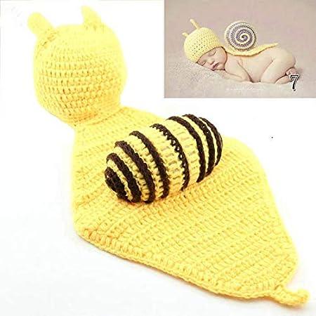 Waymeduo Lindo de la para beb/é Atrezzo fotograf/ía del reci/én nacido hecho a mano de ganchillo Beanie Hat ropa de beb/é caracol