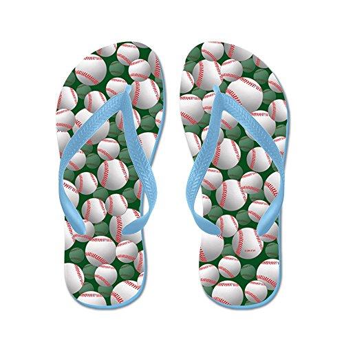Cafepress Baseball Flip Flops - Flip Flops, Roliga Rem Sandaler, Strand Sandaler Caribbean Blue