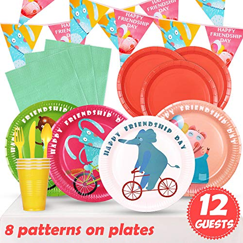 - Partybus Party Supplies Set - Serves 12, 94 Ct, Jungle Safari Zoo Animals Theme Party Disposable Tableware and Decorations Kit for Boys Girls Kids Birthday, Includes Banner, Dinner Plates, Dessert Plates, Napkins, Cups, Table Cloth, Silverware