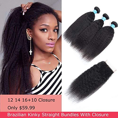 - Brazilian Kinky Straight (12 14 16 with 10) Human Hair Bundles With Closure 8A Unprocessed Virgin Yaki Straight Hair 3 Bundles With Closure Free Part Natural Color