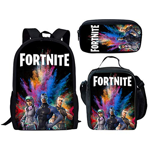 MOREFUN Fortnite Game Boys School Backpack Insulated Lunch Bag Pencil Case School Travel Book Bag for Kids (F-03)