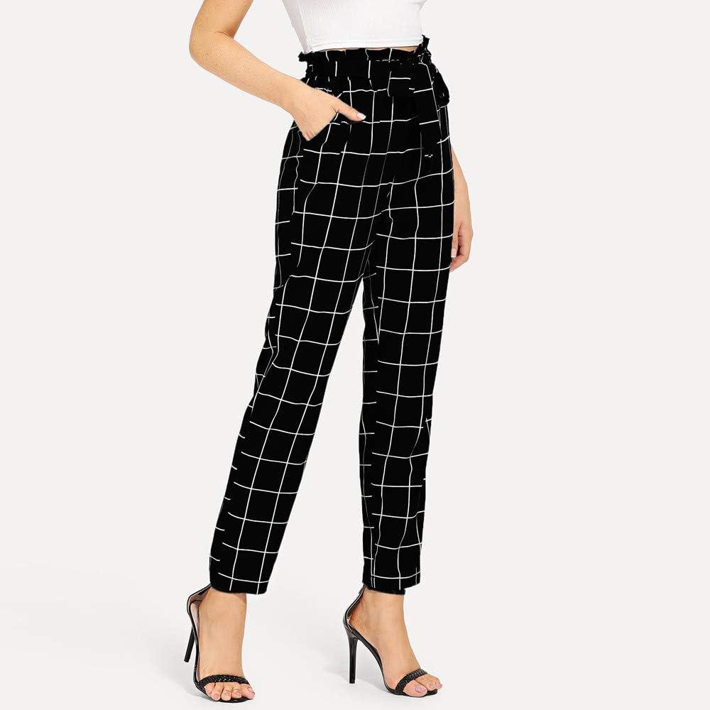 YANG-YI Womens Plaid Elastic Waist Casual Pants Bandage High Waist Pencil Pants