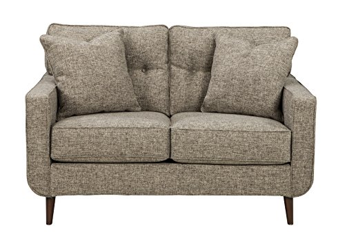 Chenille Seat - Benchcraft - Dahra Contemporary Upholstered Loveseat - Jute Gray