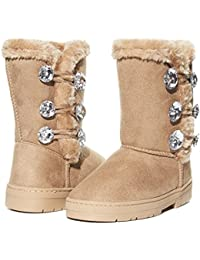 Girls Winter Boots with Sparkling Rhinestones and Fur Trims Slip-On Shoes
