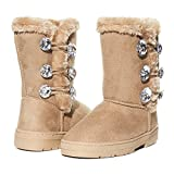 Sara Z Kids Girls Rhinestone Button With Elastic Loops Faux Fur Lined Mid Calf Fashion Winter Boots Tan Brown/gold Size 1 | amazon.com