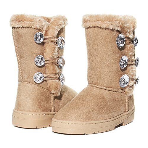 Gold Trim Boots (Girls Winter Boots Size 4 with Sparkling Rhinestones and Fur Trims Shoes)