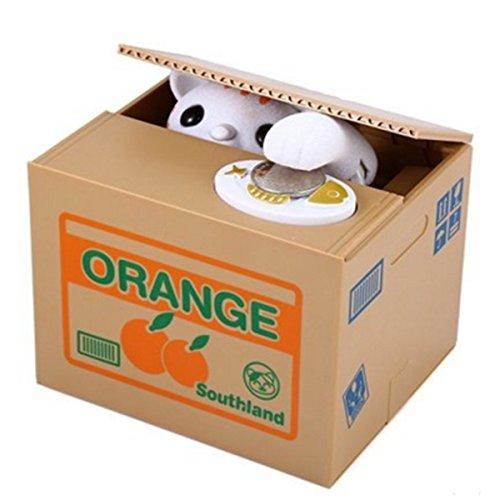 CiCy Cute Stealing Coin Money Box Piggy Bank, Mischief Savings Box, Orange White Cat