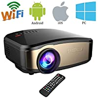 Wifi Full HD Video Projector, VPRAWLS Wireless Mini Movie Projector Portable With HDMI USB Headphone Jack TV Good For Home Theater Game Movie XBOX ONE 120 Max Dispaly