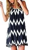 Women's Boho Casual Striped Fringe Chiffon Short Dress