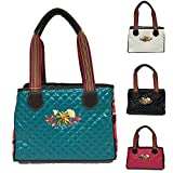 Southern Shine Consuela Inspired Quilted Black and Floral Handbag (Sea Green, Small/Medium)