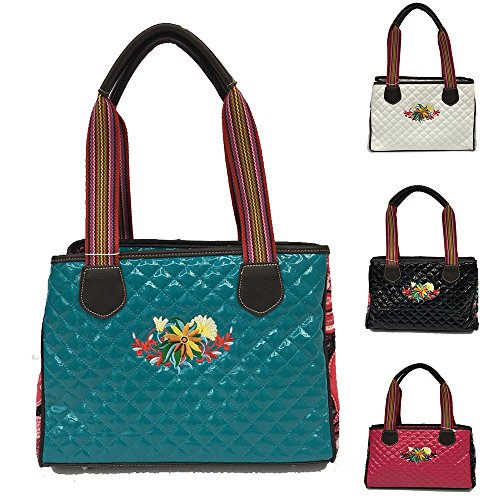 Southern Shine Consuela Inspired Quilted Black and Floral Handbag (Sea Green, Small/Medium) by Southern Shine