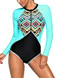 EVALESS Women's Swimwear Aztec Print Blue Rashguard Front Zipper Long Sleeve One Piece Swimsuit XX-Large