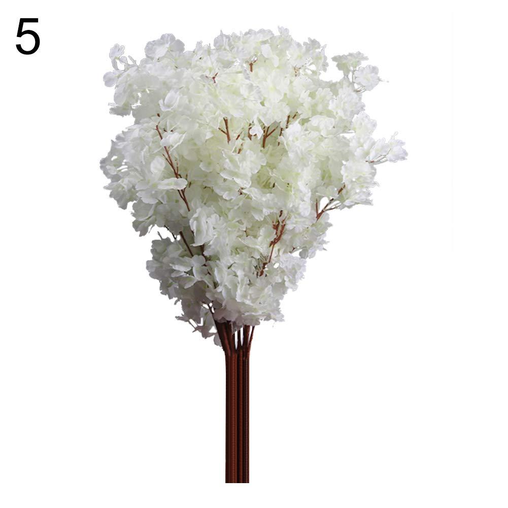 WskLinft 1ブーケ 3本の枝 桜 シルク造花 ホームウェディング装飾 - ダークピンク ホワイト WskLinft B07PKBV8B2 ホワイト