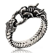 Sovats Dragon Gothic Punk Cool Winding Biker Ring For Men 925 Sterling Silver Oxidized Surface - Simple, Stylish &Trendy Nickel Free Ring