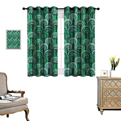 Tree Window Curtain Drape Colorful Deep Forest Pattern with Abstract Circular Foliage Design Bullseye Pattern Decorative Curtains for Living Room W63 x L72 Multicolor (Bullseye Light Plum)