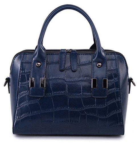 Bolsos de señora Xinmaoyuan Cowhide señoras hombro cruz diagonal Bolso Casual bolsos de cuero Azul oscuro