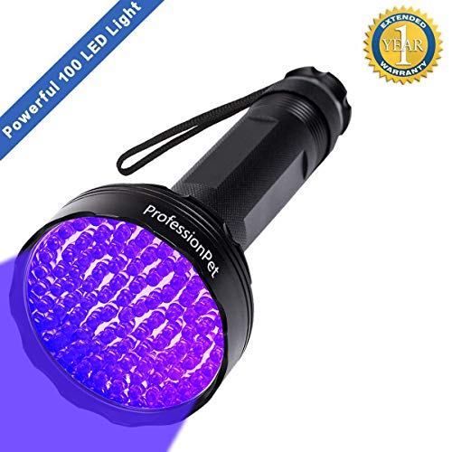 UV Blacklight Flashlight, Super Bright 100 LED 395nm Pet Dog Cat Urine Detector light Flashlight for...