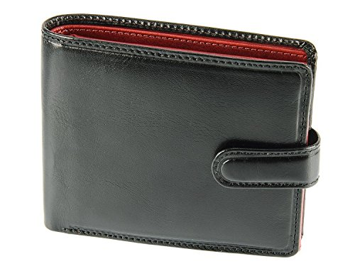 Tr Leather (Visconti TR35 Classic Tri Fold Wallet Passcase / ID Wallet made of Veg Tan Leather (Black/)