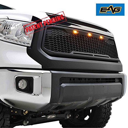EAG Replacement ABS Grille Upper Front Hood Grill - Matte Black - with Amber LED Lights Fit for 14-18 Toyota Tundra
