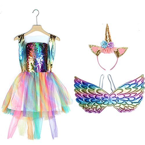 2019 Newest Sequin Rainbow Unicorn Girls Dress Kids Party Princess Halloween Fancy Costume (4-5y, Rainbow Unicorn) ()