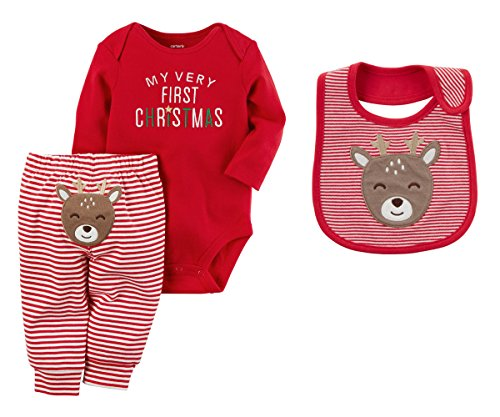 Carters Baby Girls My First Christmas Bodysuit and Pants Set With Reindeer Bib (3 Months)]()