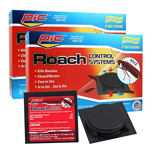PIC Roach Control Systems 2-Pack, Effective Roach Killer, Indoor Outdoor Cockroach Killer, Convenient Roach Traps, Roach Trap w/Ready Roach Bait, Clean Cockroach Trap, 24-pc Cockroach Bait Value Pack