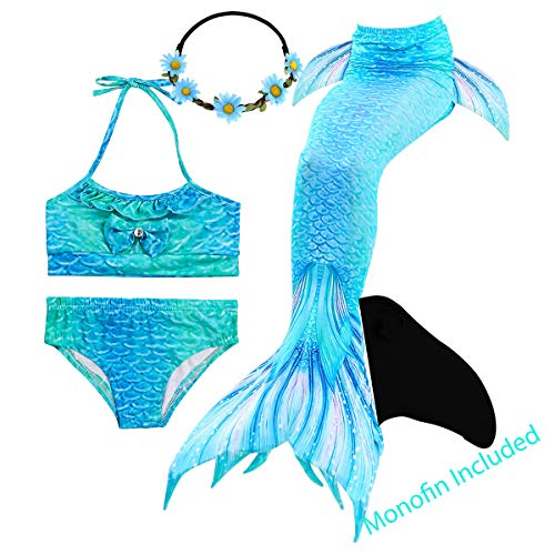 GALLDEALS Mermaid Tails for Swimming with Monofin for Girls Kids, Mermaid Tail Swimwear Bathing Suit Bikini Set -