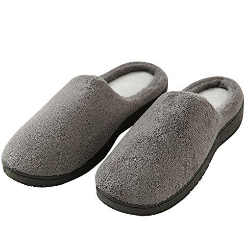 House Slippers For Men, Mens Memory Foam Coral Fleece Shoes, Nonslip Soft Comfort Indoor Bedroom Footwear