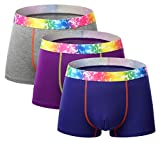 Seaoeey Mens Classic Underwear Relaxed Stretch Boxer Briefs for Men Pack of 3 Purple-Blue-Gray L/36-38 inch