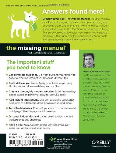 buy dreamweaver cs5 the missing manual missing manuals book