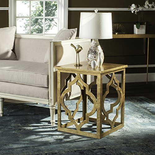 - Safavieh American Homes Collection Milo Gold Leaf Trellis End Table