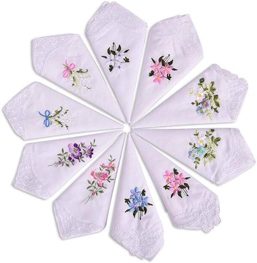 100/% Cotton Womens Handkerchiefs Embroidery Ladies Vintage Floral Lace Handkerchiefs Gift Box Set